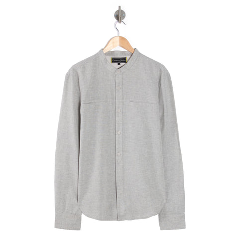 DESTINY Salt & Pepper grandad collar long sleeve shirt