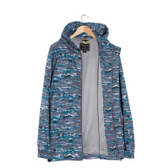 WISDOM Waves Print Hooded Jacket open