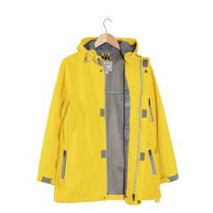 PRECIPITATE Signage Yellow womens hooded jacket open