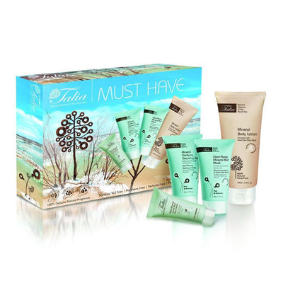 "Talia Skin Care ""Must Have Essentials Gift Package"" - Multi-Mineral Facial Mud Day Cream, Mineral Clarifying Cleansing Gel, Clear Away Mud Mask, Mineral Body Lotion - kosmify"