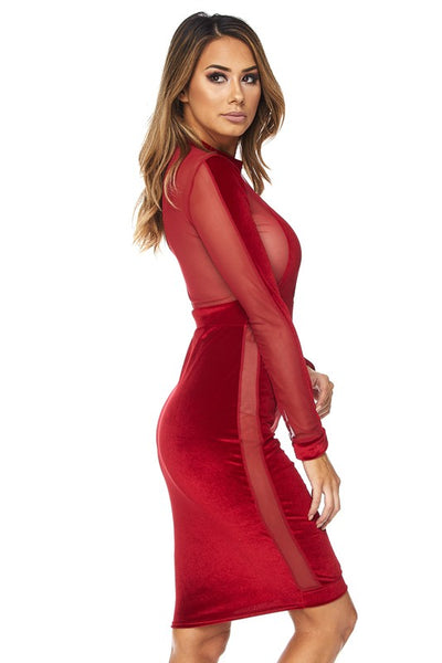 Sussie Velvet striped bodycon dress
