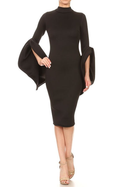 Lala  Midi Bodycon Dress With A Mock Neck Dress