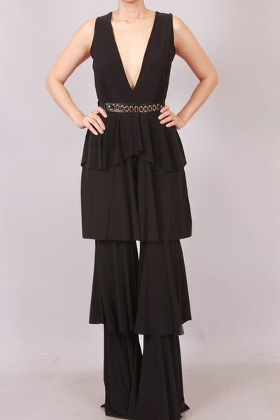 Nella Tiered Ruffle Jumpsuit With Belt