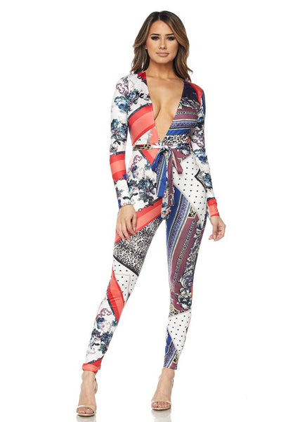 Quad print deep v neck long sleeve jumpsuits