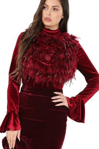 Terrie Faux Feather  Velvet Top