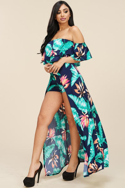 Aruba Tropical Print Off the Shoulder Top and Shorts Set