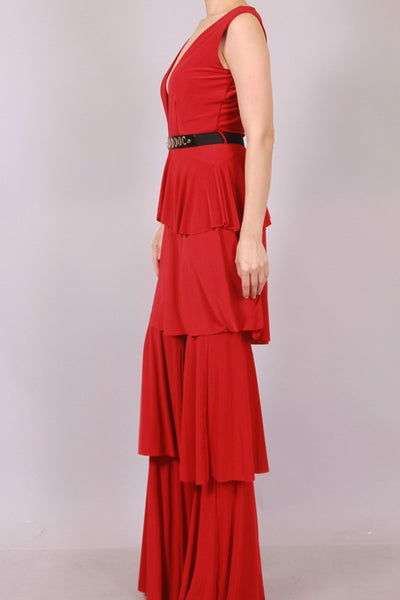 Nelly Tiered Ruffle Jumpsuit With Belt