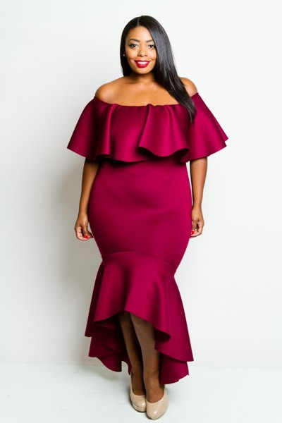 Off shoulder mermaid style dress with ruffled layer