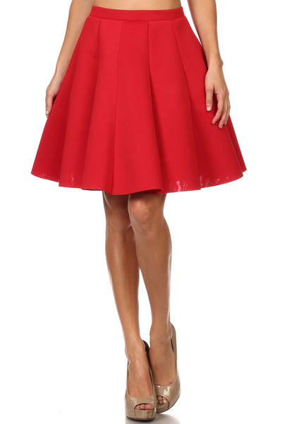 High waist-ed, thigh length skirt with a flared/pleated bottom