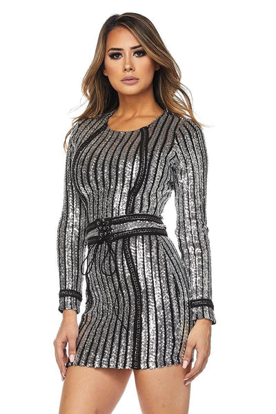 Nelly Striped Sequin Long Sleeve Dress With Belt