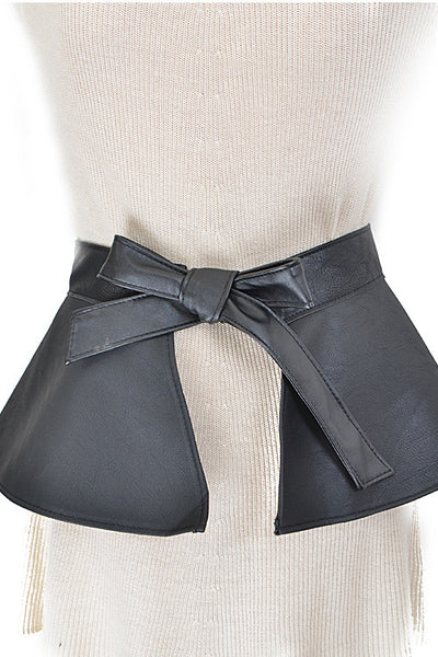 Faux Leather Ribbon Tie Strap Belt