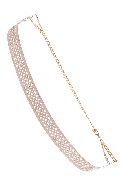 Diamond Cutout Panel Curved Chain Belt
