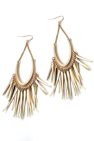 Metal horn fringe earrings