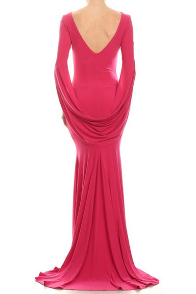 Maxi dress with long sleeves with draped detail