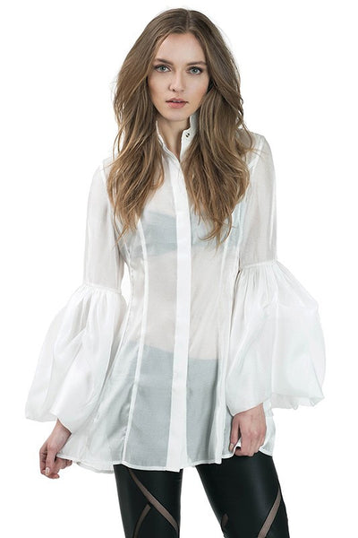 Long Puff Sleeve Tunic Blouse