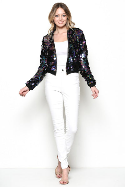 Jessica Sequence bomber jacket with long sleeves.