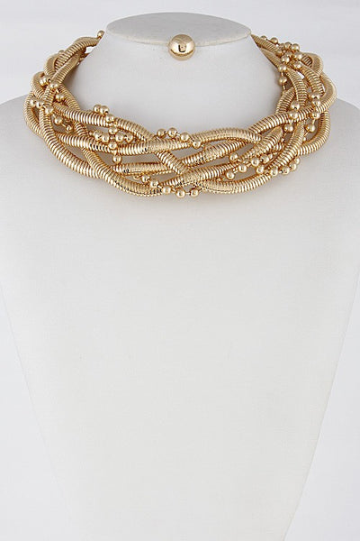 Lightly Braid Choker Necklace Set