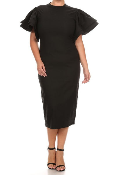 Short Sleeve Midi Dress With A Crew Neck.