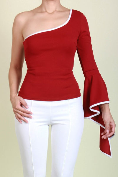 ONE SHOULDER BELL SLEEVE TOP WITH CONRAST BINDING DESIGN