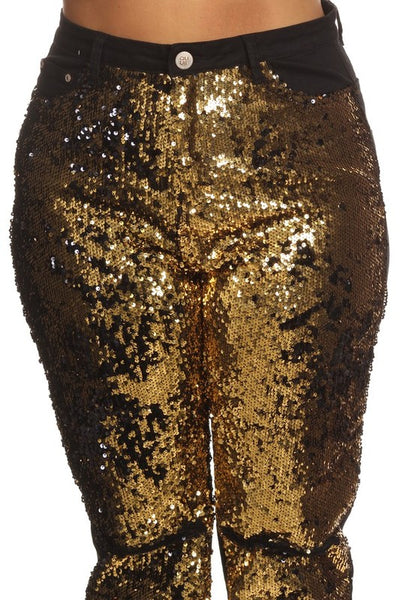 Gold Sequin Jean
