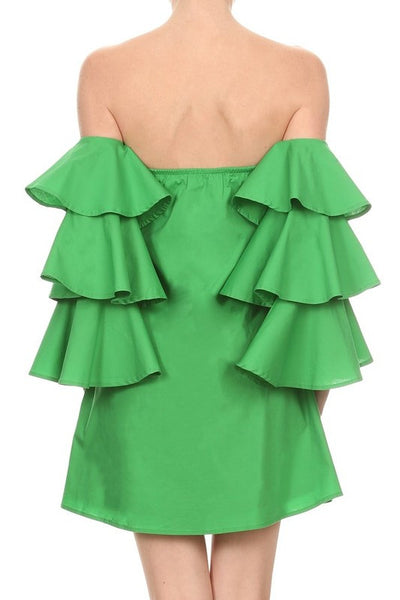 Off The Shoulder Sleeves And Ruffled Detail Dress