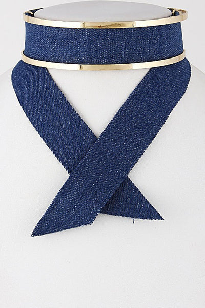 Formal Denim Choker Necklace