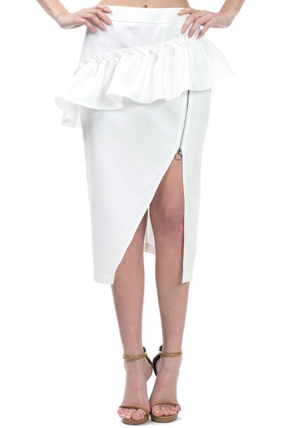 Ruffle around open zipper slit midi skirt