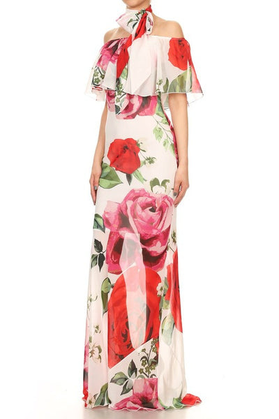Melody Chiffon Off Shoulder Maxi Dress