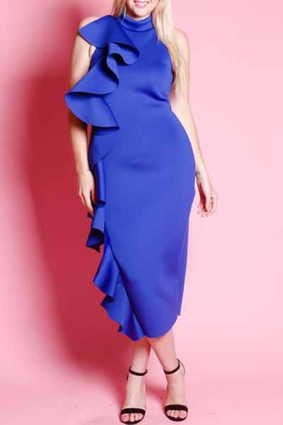 Cascade From Shoulder To Bottom Dress