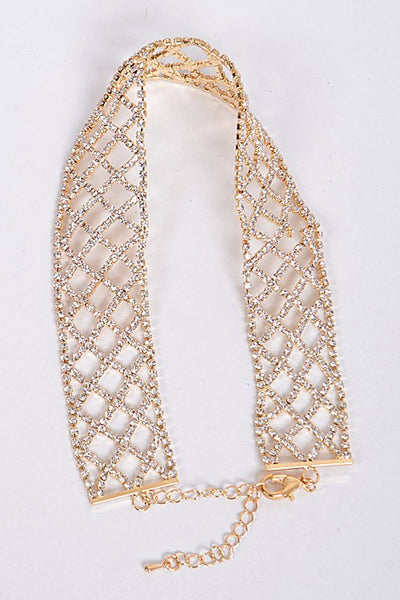 Net Rhinestone Choker Necklace