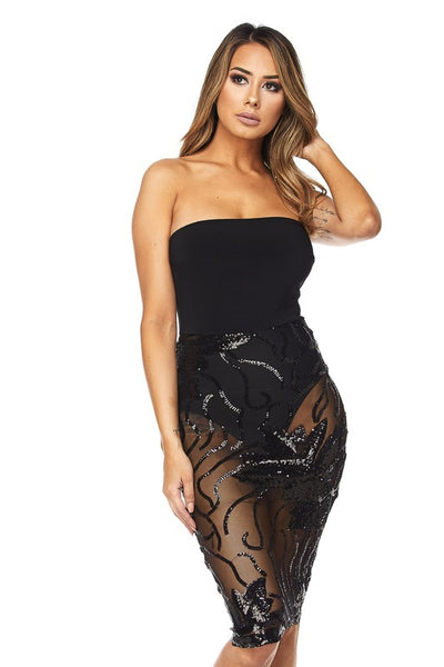 Sexy Tube Sequin Detail Dress