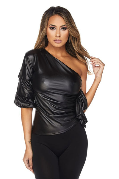 UNIQUE PETERSYN LEATHER ONE SHOULDER TOP
