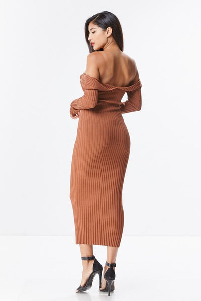 Marlo Long Sleeve Off Shoulder Ribbed Midi Dress
