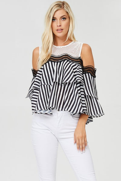 Stripe Cold-Shoulder top with 2-layer ruffled detail.
