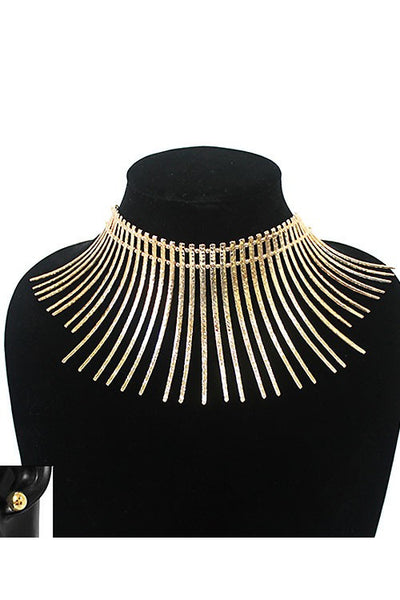 THICK CHAIN CHOKER NECKLACE SET  MULTI FLAT SPIKES