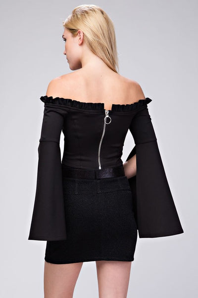 Maeve Off Shoulder Crop Top With Bell Sleeves