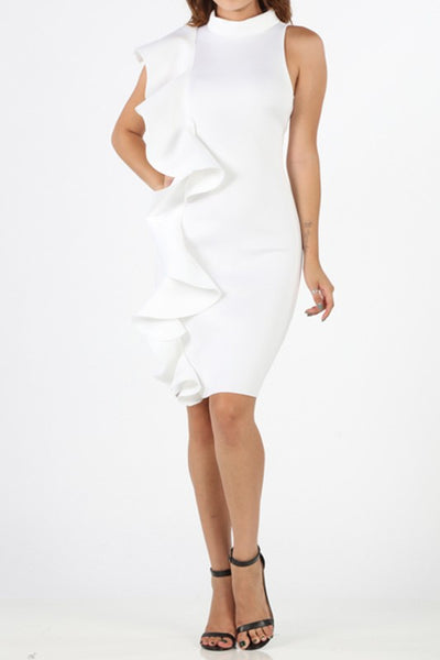 Cascade Side One Strap Casual Midi Dress Ruffle Dress