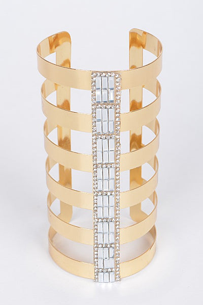 Fashionable Long Metallic Open Cut Bracelet