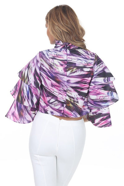 Lilly Mock Neck Layered Sleeve Print Crop Top