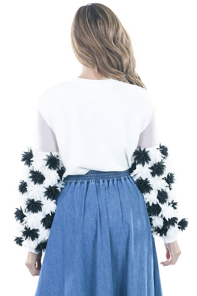 3D Flower Trim Sleeve  Pullover Top