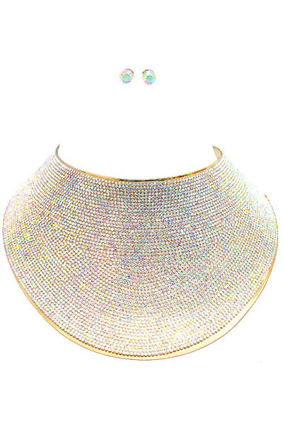 Midela Rhinestone Cover Oversize Necklace Set