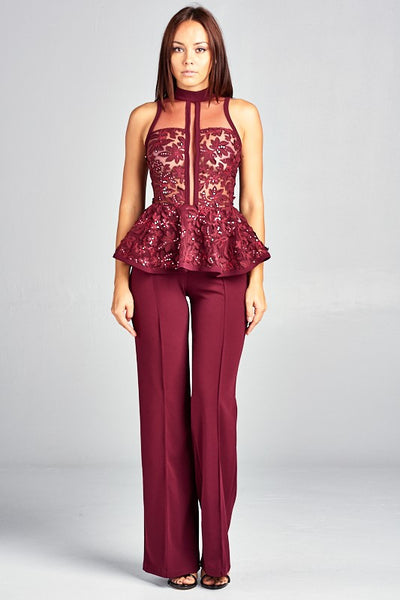 SKY HALTER NECK JUMPSUIT