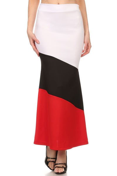 Solid color block fitted mermaid style maxi skirt with high waist