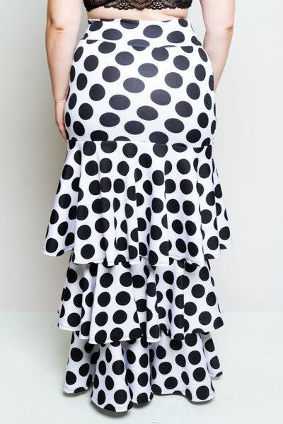 POLKA DOT RUFFLED ALL THE WAY SCUBA MAXI SKIRT.