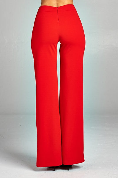 Ivana High Waist Pants With Button Color Block Detail
