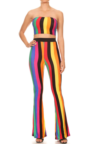 Kimberly Rainbow print short and pants set