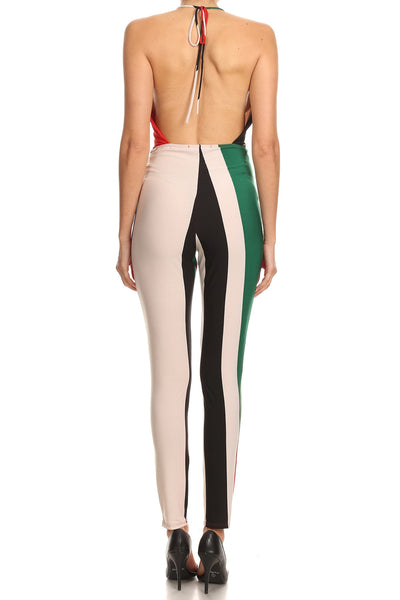 Ebony Striped Color Block Jumpsuit