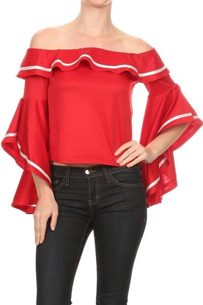 Mockie Off Shoulder Top With Bell Style Long Sleeves