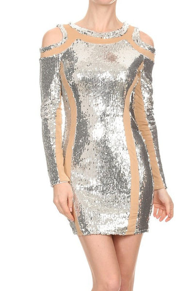 Maggie Paneled Sequin Cold Shoulder  Dress