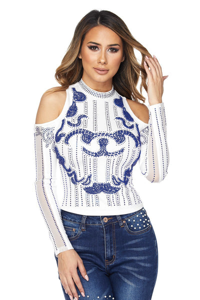 Hallie Rhinestone  Crop Top